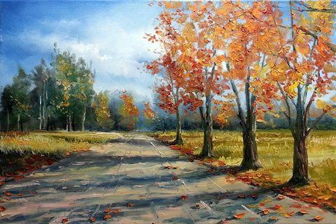 Картина раскраска по номерам 40x50 Осенняя улочка