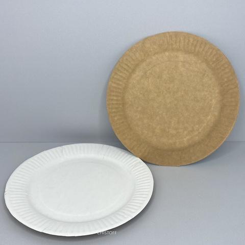 Тарелка бумажная круглая d19 см (100 шт.) белая