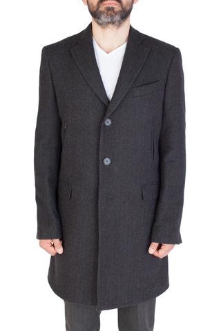 Тёмно-серое шерстяное пальто с узором «в ёлочку»