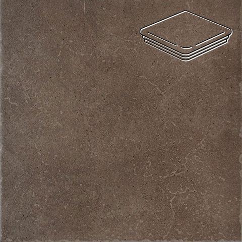 Interbau - Alpen, Engadin/Бурый песок 310x325x9, цвет 045 - Ступень флорентийская угловая