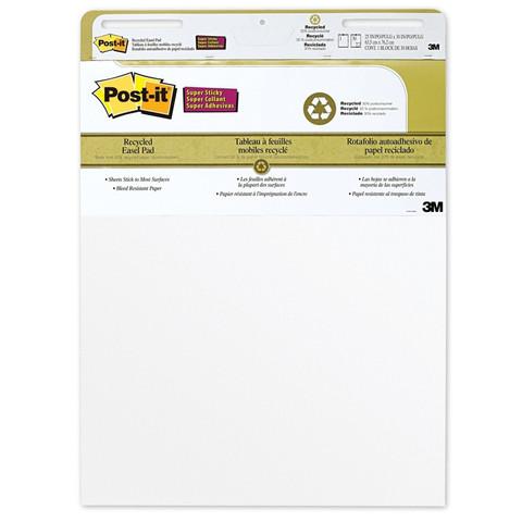 Бумага для флипчартов с клейким краем Post-it SuperSticky 63.5х76.2см белая 30 листов (90 г/кв.м, 2 блока в упаковке)