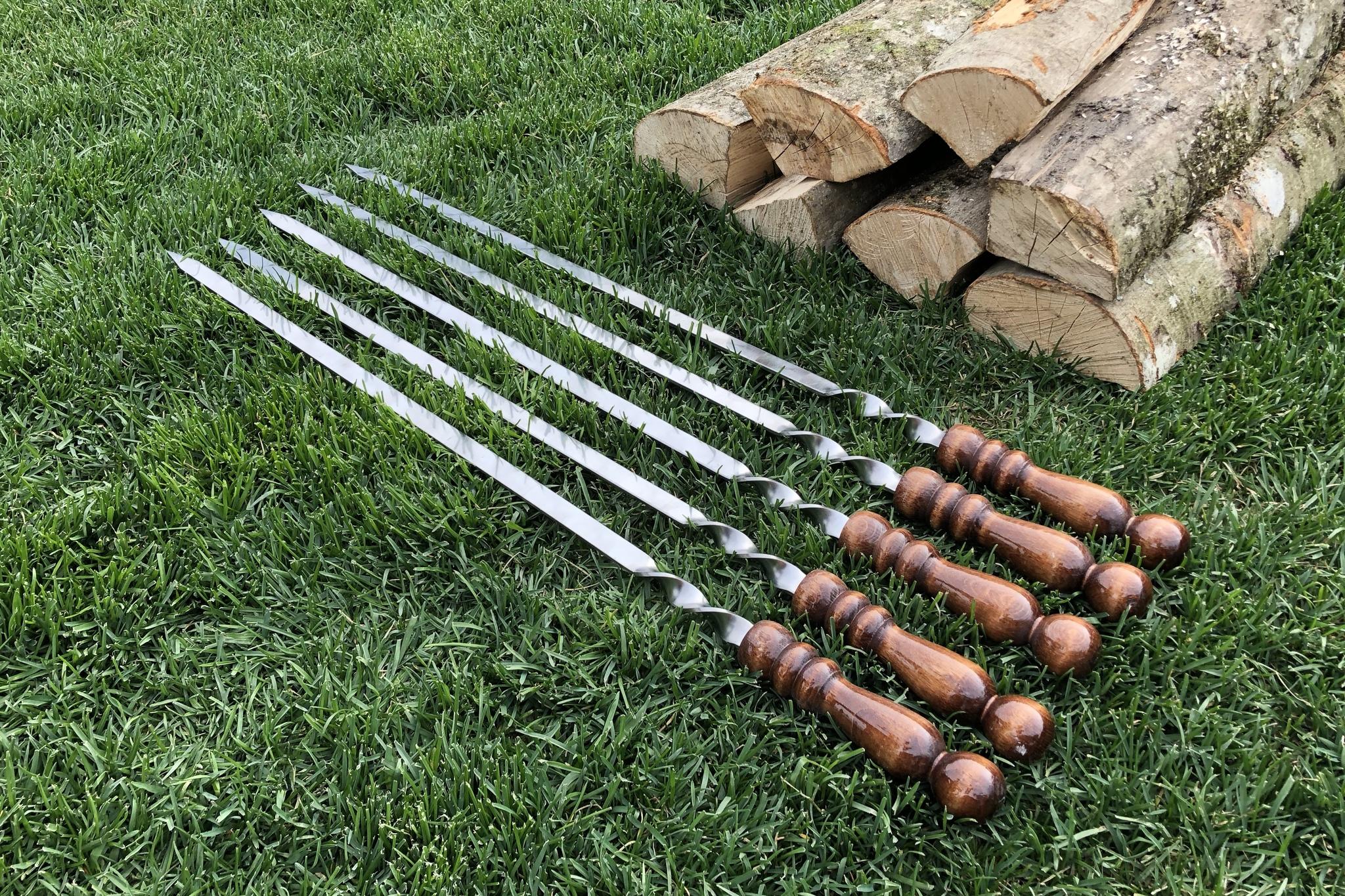 """Шампуры из нержавейки Шампур с деревянной ручкой """"Шар"""" 3мм (ширина 6мм) №4 IMG_3750.JPG"""
