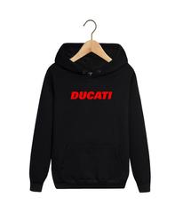 Толстовка черная с капюшоном (худи, кенгуру) и принтом Дукати (Ducati) 002