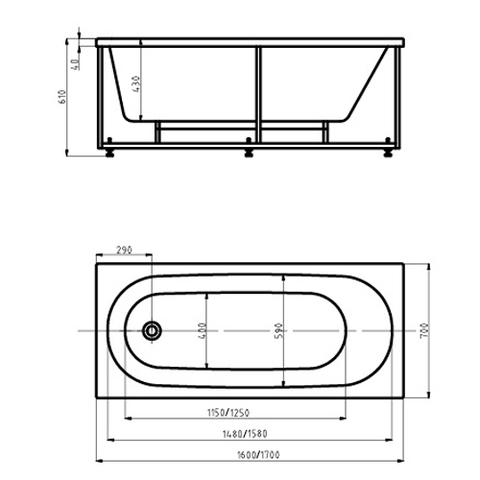 Ванна акриловая Auatek Оберон 170х70см. на каркасе с сливом-переливом. схема