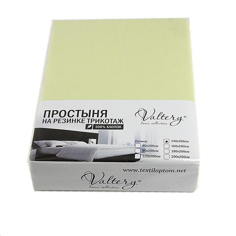 Простынь на резинке трикотажная- салатовая Valtery (Россия)