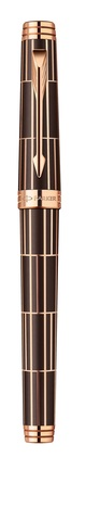 Ручка-роллер Parker Premier Luxury 2013, T560, цвет: коричневый и розовый золотистый (Brown PGT),  стержень: чернила черного цвета123