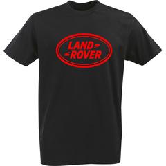 Футболка с однотонным принтом Ленд Ровер (Land Rover) черная 004