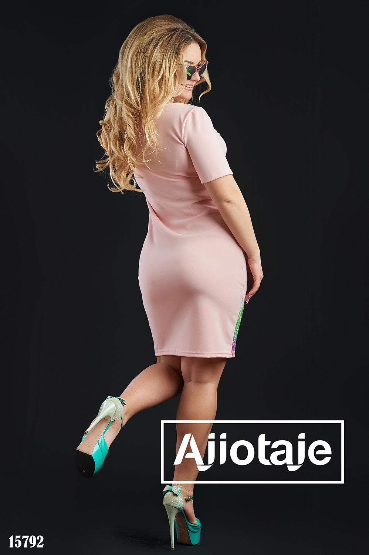 Платье миди цвета пудра с фламинго