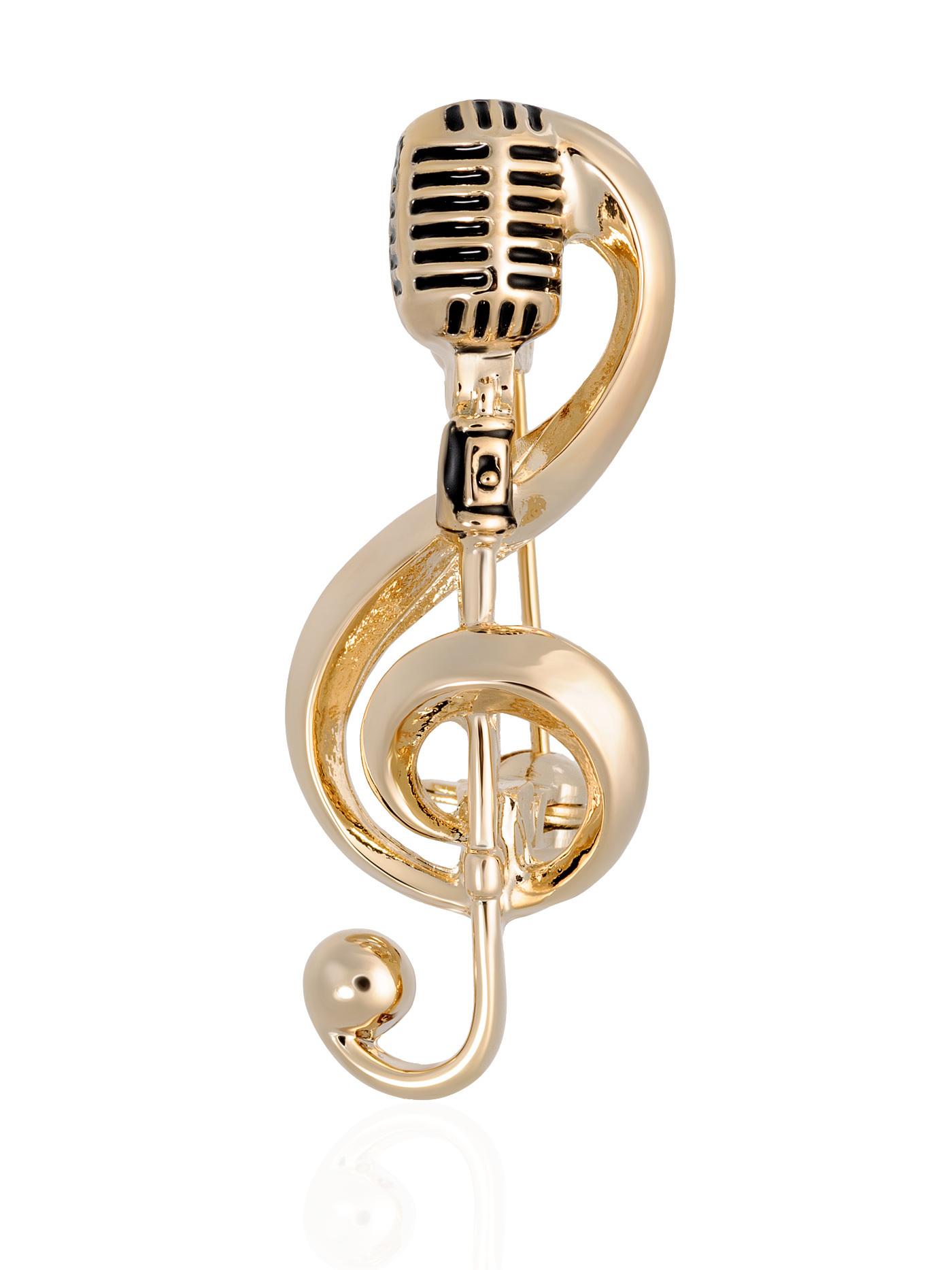 Брошь Скрипичный ключ с микрофоном