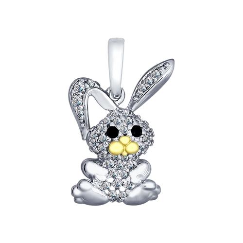 Серебряная подвеска «Зайчонок» с фианитами