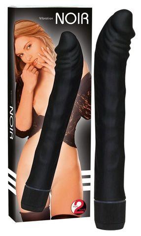 Чёрный вибромассажер-реалистик Rouge   Noir - 19 см.