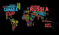 """Модульная картина """"Карта мира с надписями"""""""
