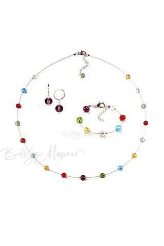 Комплект Estate серебристый (серьги фиолетовые Piccolo, ожерелье длинное, браслет)