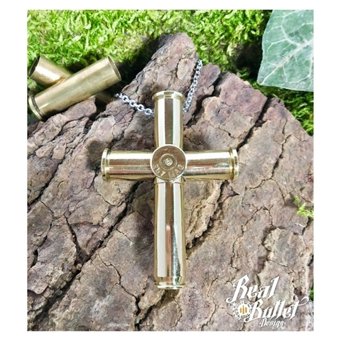 Real Bullet Design Halskette Bullet Cross No. 1