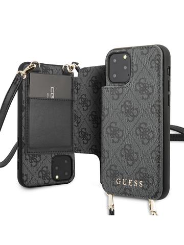 Чехол Guess 4G для iPhone 11 Pro | ремень магнит карман серый