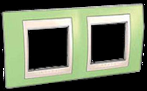 Рамка на 2 поста. Цвет Зеленое яблоко/белый. Schneider electric Unica Хамелеон. MGU6.004.863