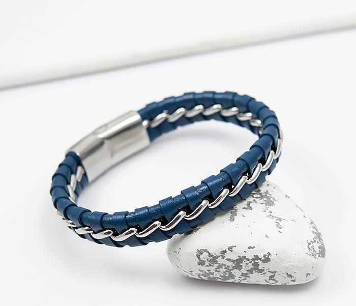 BM380-3 Мужской браслет из кожи синего цвета с цепочкой (20 см)