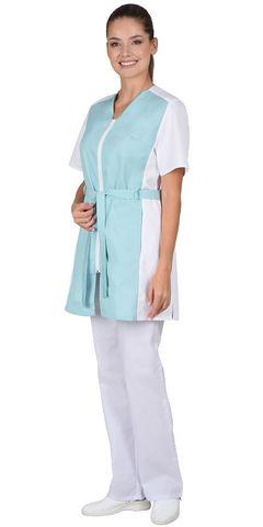 Блуза  женская мятная с белым