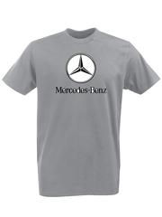 Футболка с принтом Mercedes-Benz (Мерседес-Бенц) серая 001