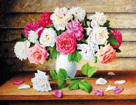 Алмазная Мозаика 40x50 Букет роз на столе (арт. HWSA5114)