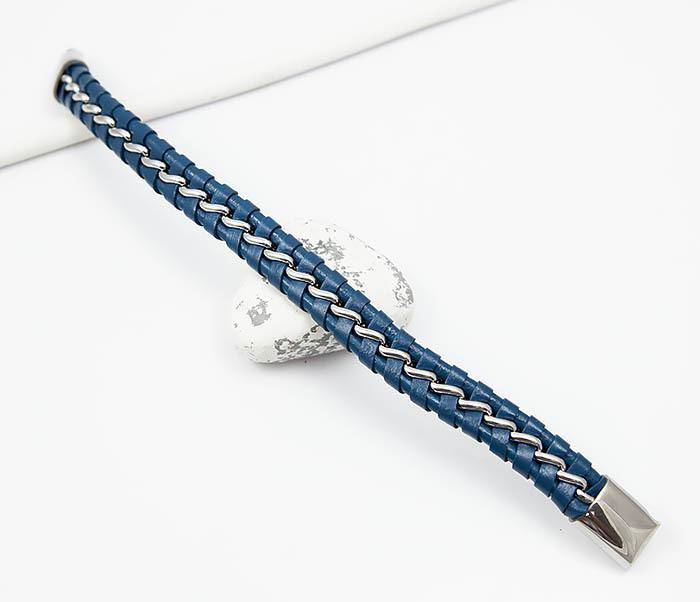 BM380-3 Мужской браслет из кожи синего цвета с цепочкой (20 см) фото 02