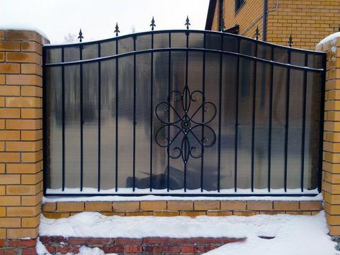 Кованый забор с поликарбонатом N-9