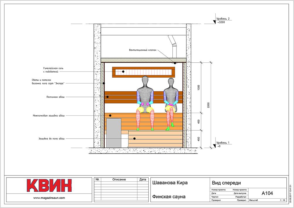 Проект сауна 2,55х2,2 материал: липа, абаш, вставки кед, фото 4