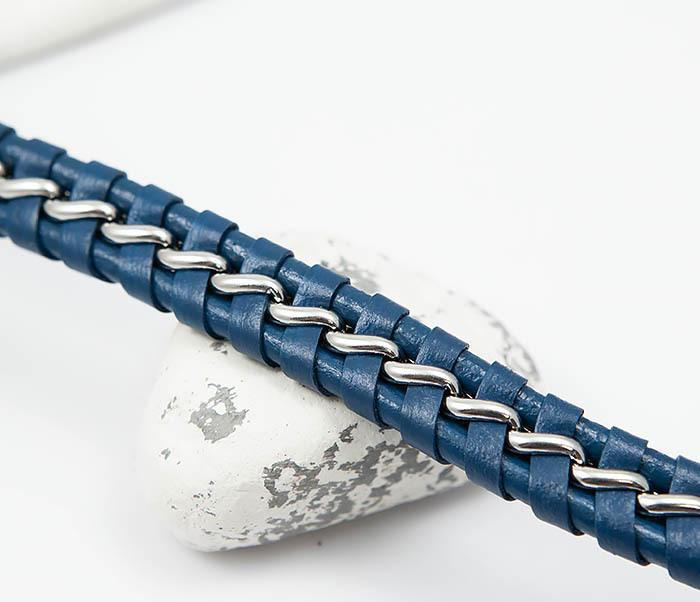 BM380-3 Мужской браслет из кожи синего цвета с цепочкой (20 см) фото 03