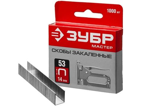 ЗУБР 14 мм скобы для степлера узкие тип 53, 1000 шт
