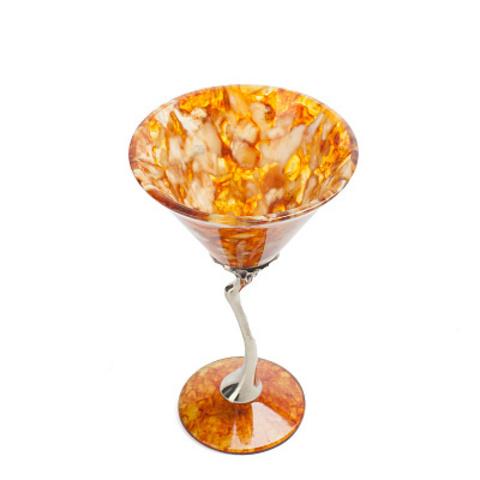 Бокал для мартини  из янтаря Лето ,бронза