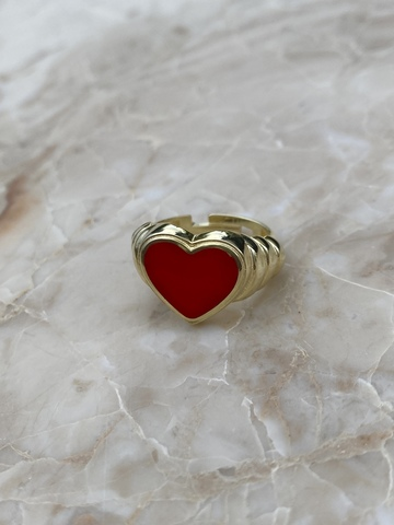 Кольцо Лавли из позолоченного серебра с красной эмалью