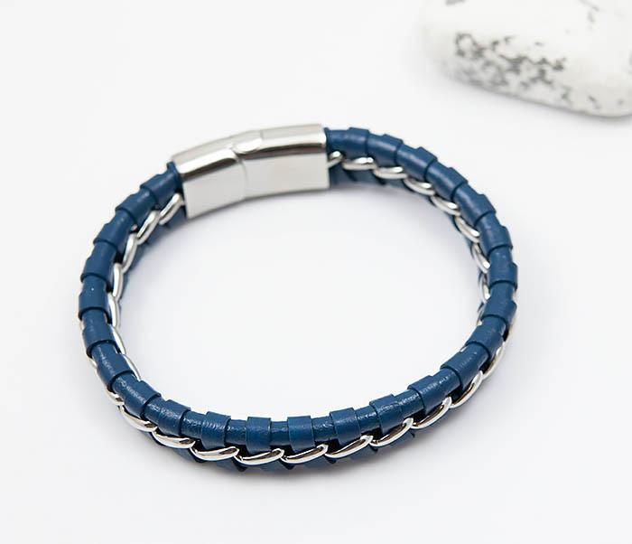 BM380-3 Мужской браслет из кожи синего цвета с цепочкой (20 см) фото 04