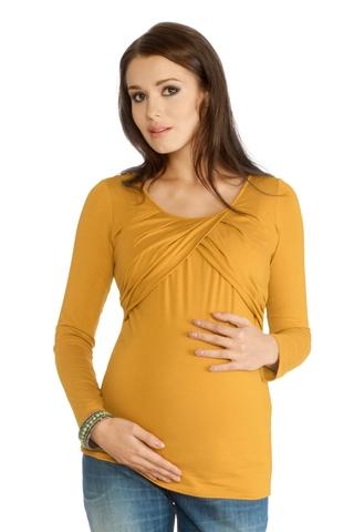 Лонгслив для беременных 01156 горчичный