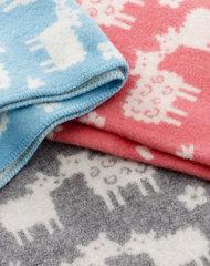 Одеяло, KLIPPAN, Овечки, Эко-шерсть, Голубой, 65x90 см