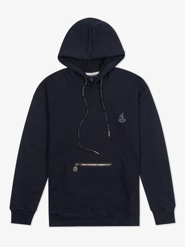 Худи темно-синего цвета с логотипом, без лампасов