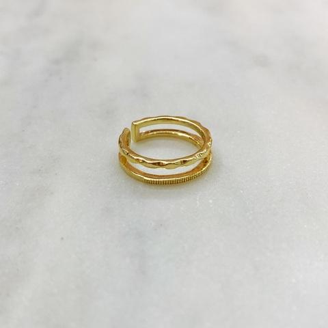 Кольцо на фалангу двурядное фактурное (золотистый)