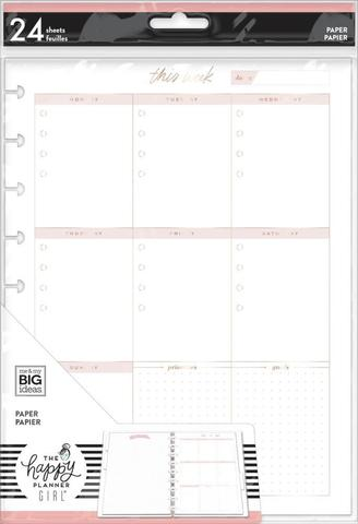 Дополнительный блок листов для ежедневника  -Minimalist Classic Filler Paper - Weekly Schedule