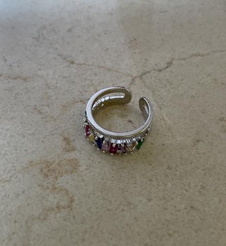 Кольцо Рейн, серебряный цвет с разноцветными цирконами