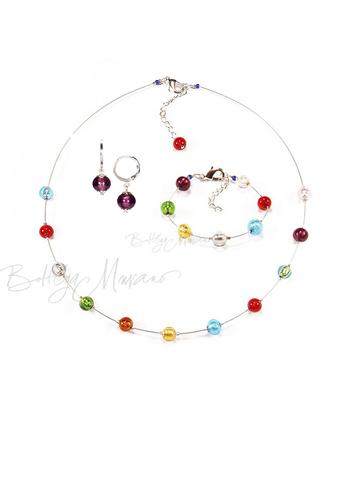Комплект Estate серебристый (серьги фиолетовые Piccolo, ожерелье короткое, браслет)