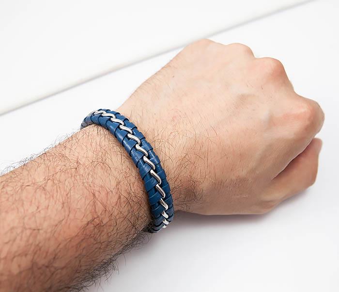 BM380-3 Мужской браслет из кожи синего цвета с цепочкой (20 см) фото 05