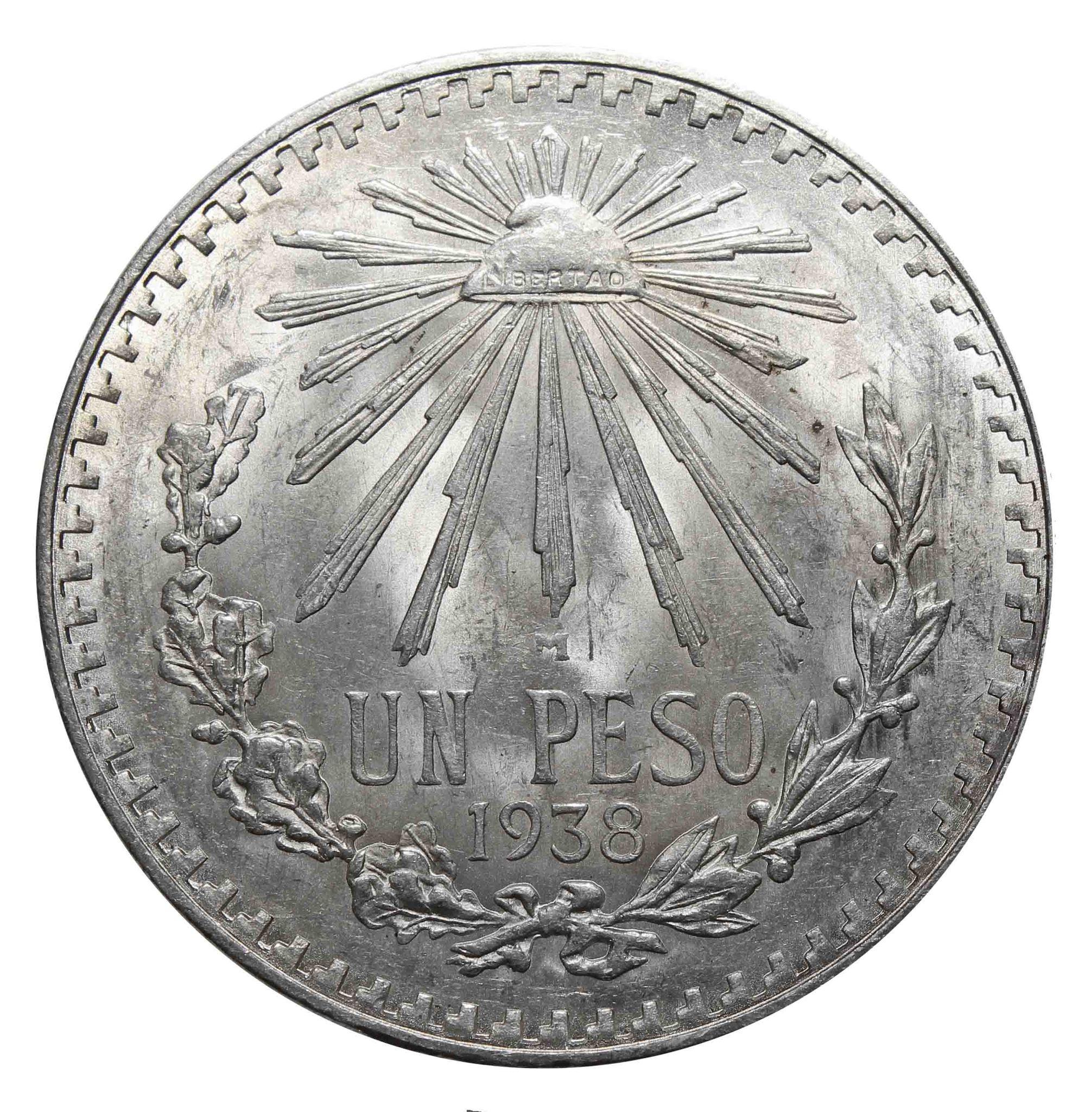 1 песо. Мексика. 1938 год. Серебро. AU
