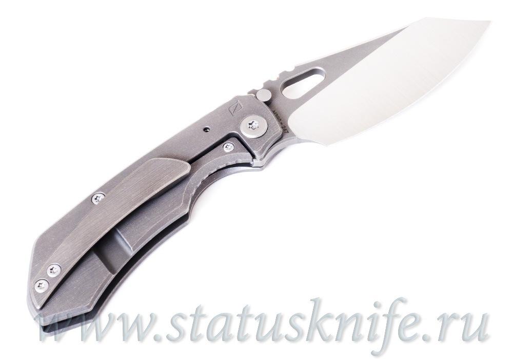 Нож CKF/Rotten Evolution 2.0 (grey Ti handle, grey Ti clip & spacer, M390 satin/stonewash) - фотография