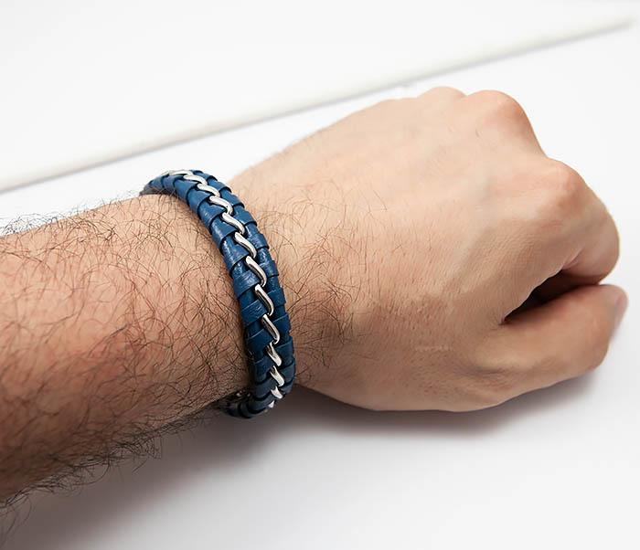 BM380-3 Мужской браслет из кожи синего цвета с цепочкой (20 см) фото 06