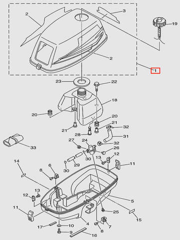 Капот для лодочного мотора T3 SEA-PRO (1-1)