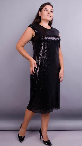 Соло. Коктейльна сукня з паєтками плюс сайз. Чорний.
