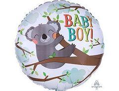 А 18''/46см, Круг, BABY BOY Коала мальчик, серый.