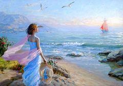 Картина раскраска по номерам 40x50 Девушка в голубом платье наблюдает за следованием корабля