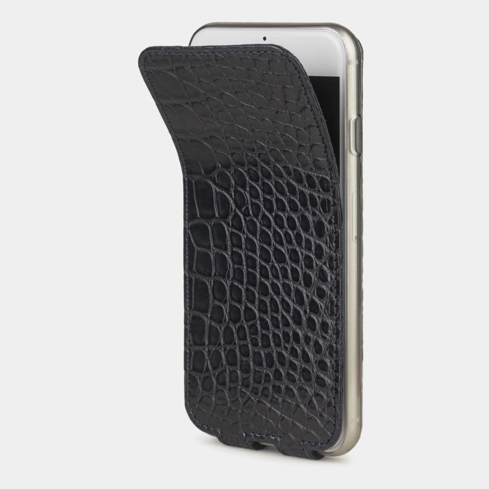 Чехол для iPhone 7 из натуральной кожи аллигатора, темно-синего цвета