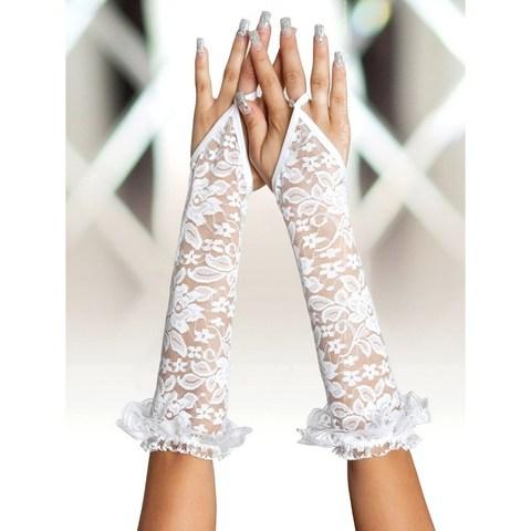 Длинные кружевные перчатки с открытой ладонью белые