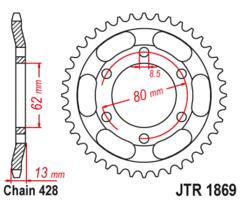 Звезда задняя JT R 1869.45 Yamaha XT 225 Serow